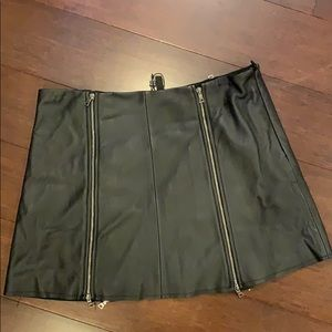 "BCBG Maxazria leather (mini ""ish"") skirt NWT"